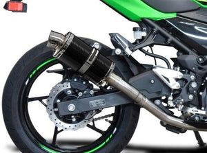 "DELKEVIC Kawasaki Ninja 400 / Z400 Full Exhaust System with DS70 9"" Carbon Silencer"