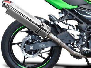 "DELKEVIC Kawasaki Ninja 400 / Z400 Full Exhaust System with Stubby 17"" Tri-Oval Silencer"