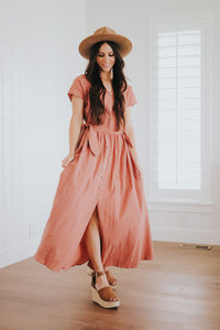 Button up dress in rose