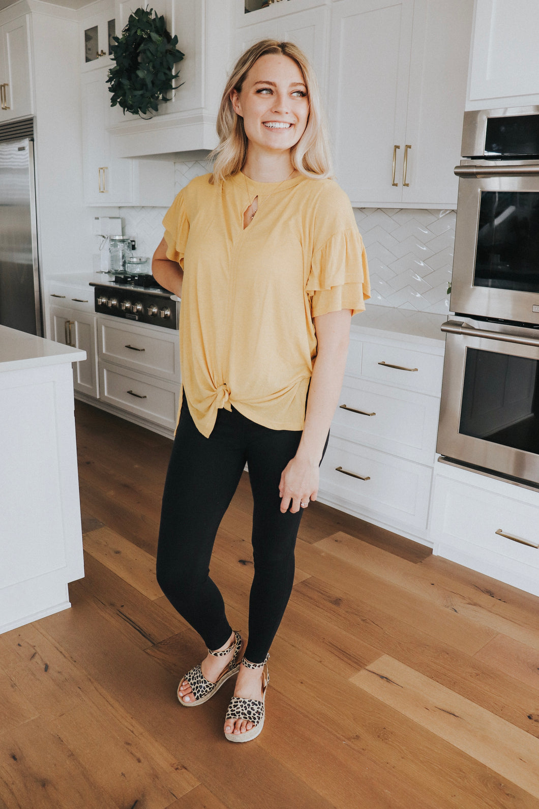 Frill Sleeve Top In Mustard