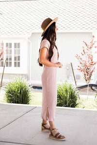 Ribbed Midi Dress In Dusty Pink
