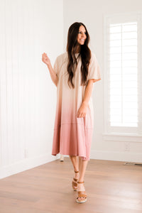 pink dipped dress