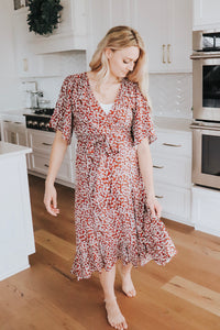 Dahlia Wrap Dress in Brick