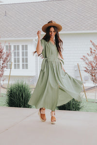 Button up dress in sage