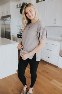 Frill Sleeve Top In Grey
