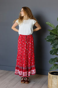 Leo Maxi Skirt in Red