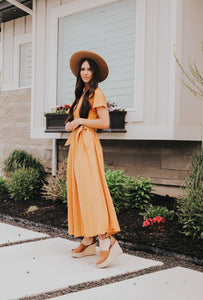 Button Up Dress in Mustard