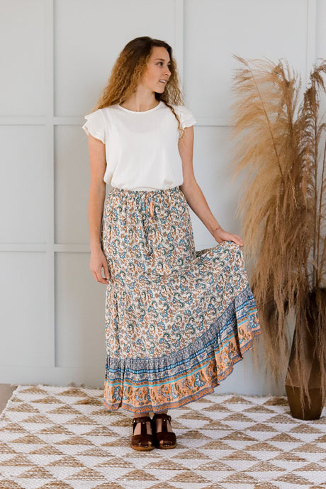 Leo Maxi Skirt in Beige
