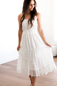 Swiss dot white dress