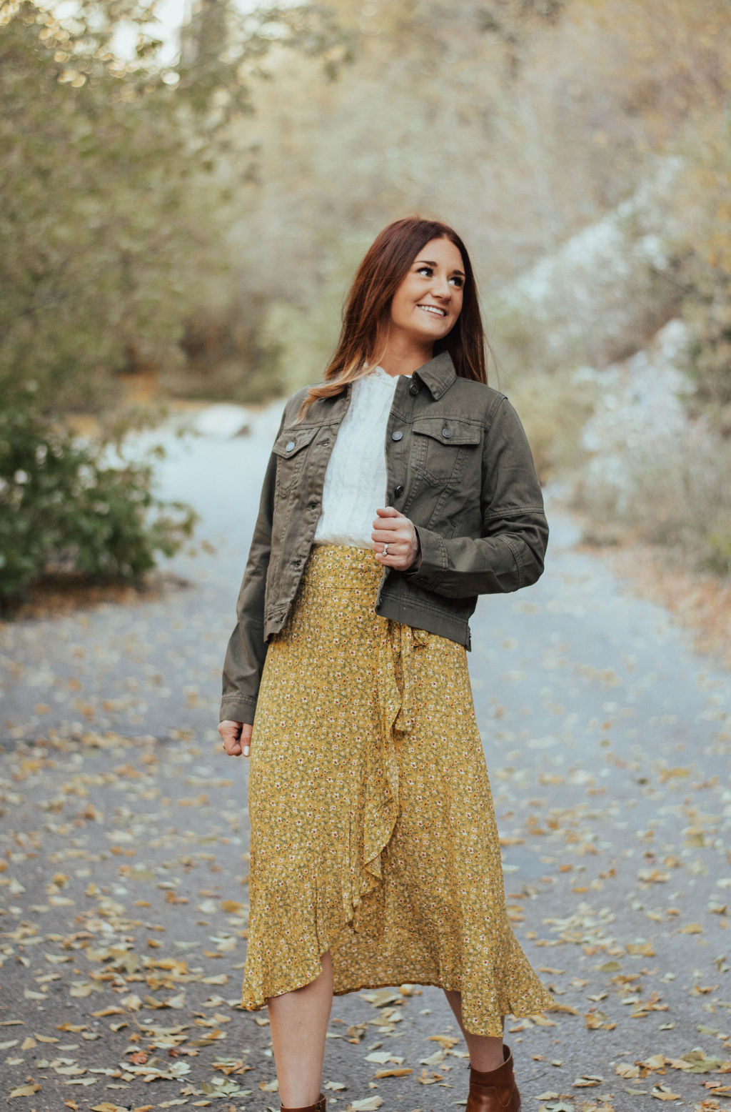 Floral Wrap Skirt in Mustard