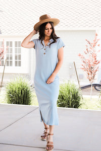 Ribbed Midi Dress in Dusty Blue