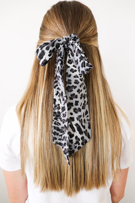 Grey Leopard Scarf Scrunchie