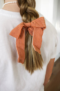 Burnt Orange Striped Bow Scrunchie