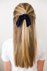 Navy Velvet Scrunchie Bow