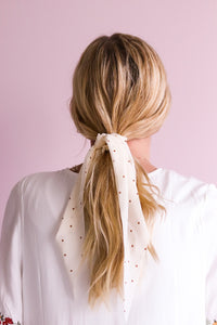 Gold polka dot scarf scrunchie