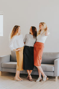 The Kendra Midi Skirt- Multiple Colors!
