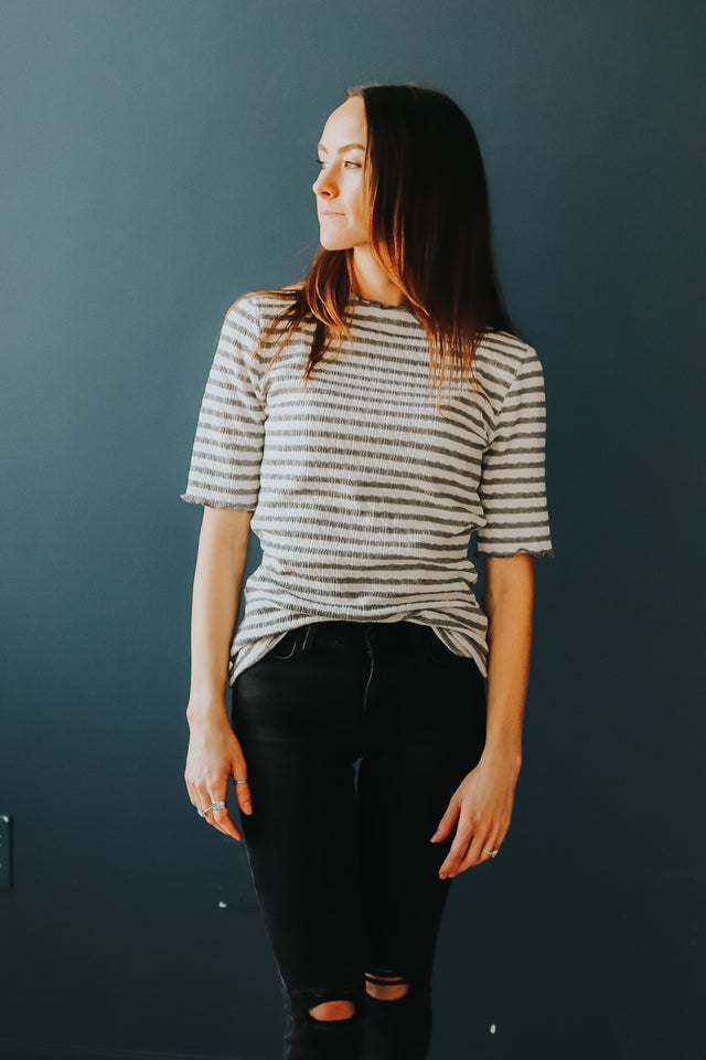Mock Neck Top in Grey