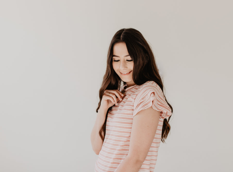 Petal Sleeve T-Shirt in Blush