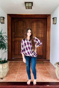 Twist-Front Plaid Shirt