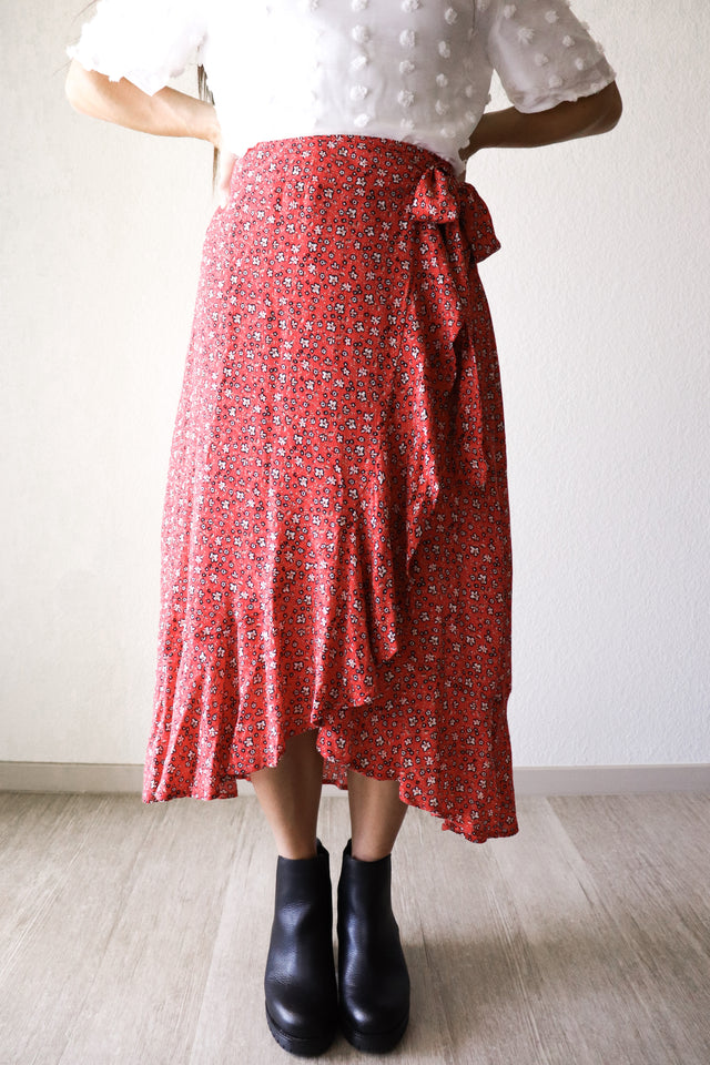 Floral Wrap Skirt in Red