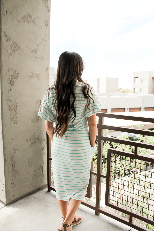 Striped Midi Dress in Mint (Small-XLarge)
