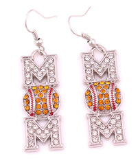 Rhinestone Drop Baseball / Softball Mom Earrings