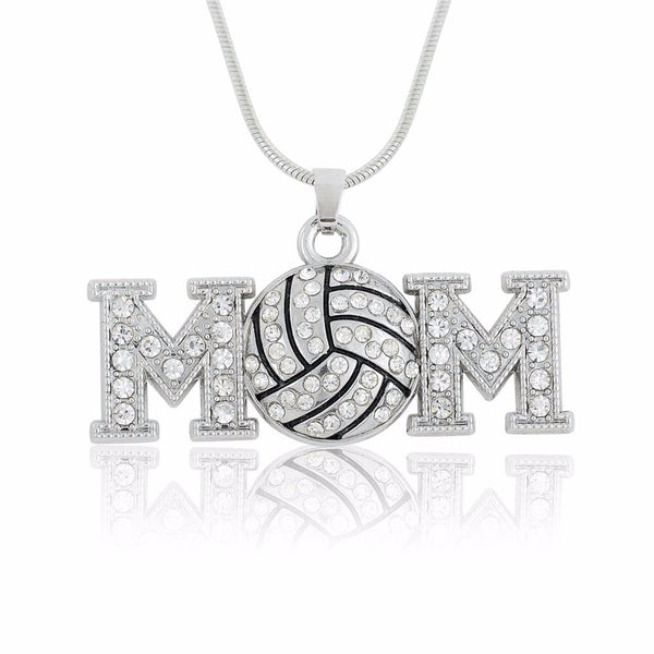 Volleyball Mom Crystal Charm Necklace