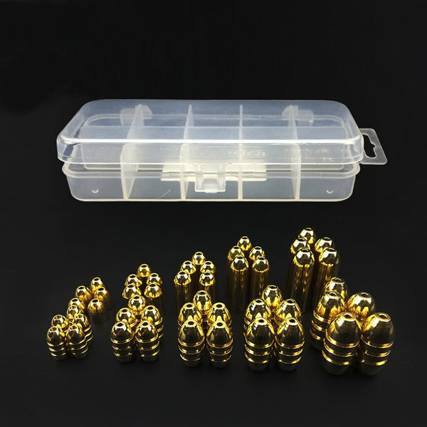 50Pcs Copper Bullet Weights Fishing Sinkers in Plastic Fishing Accessories Tackle Box 1.8g/3.5g/5g/7g/10g