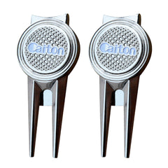 2pcs Golf Divot Repair Tool with Magnetic Ball Marker (Silver)