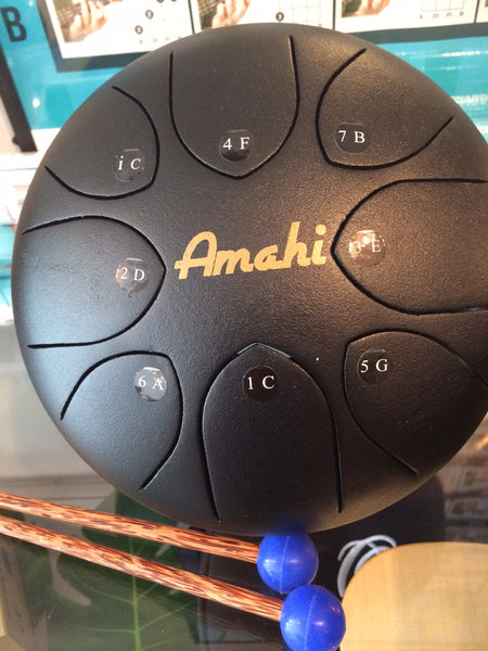 "Amahi Steel Tongue Drum - 10"" Steel Drum Black - w/Bag and Mallots"