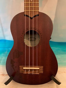KALA KA-15S-H1 Soprano Ukulele w/Hawaiian Islands Etching freeshipping - Aloha City Ukes
