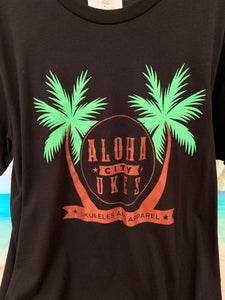 Aloha City Ukes / Logo Front T-Shirt - Black