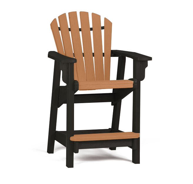 Breezesta - Coastal Counter Chair - Black with Cedar