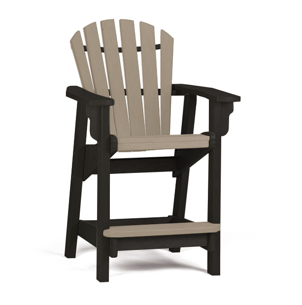 Breezesta - Coastal Counter Chair - Black with Weatherwood