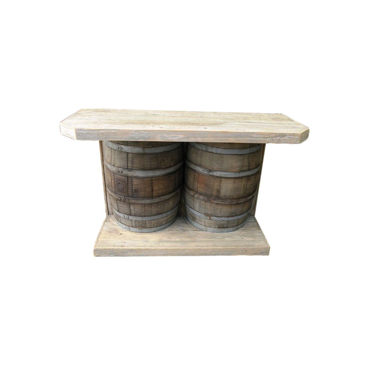 Outdoor Rustic wine barrel bar in natural wood color