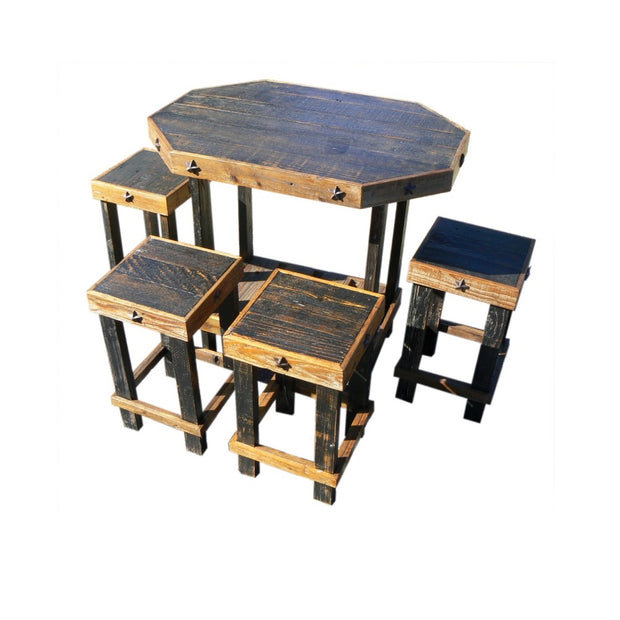 rustic table and chairs in black