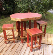 Rustic Patio Set in red with chairs 2