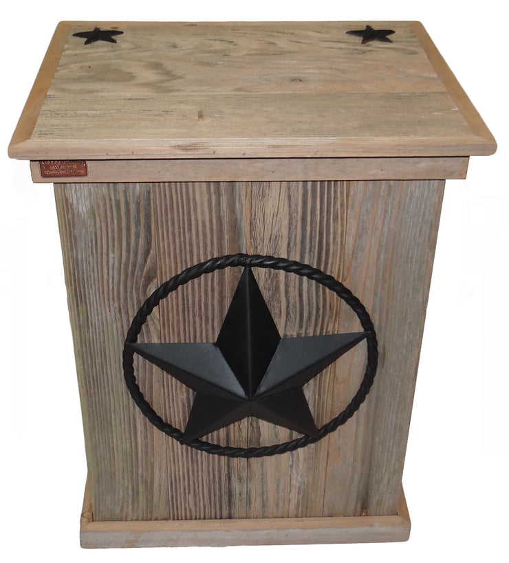 outdoor Rustic Single Trash Can Star -