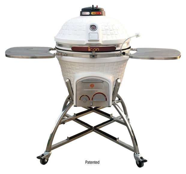 Icon Grills - Charcoal Grill - smoker - 701 series white - CG701wcccpb1b