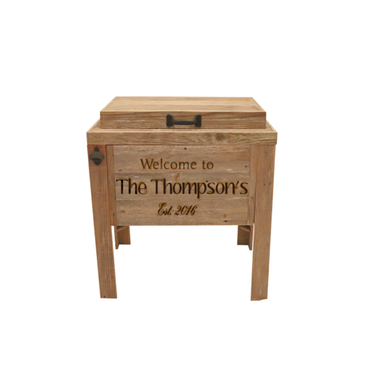 Single Rustic Cooler - 3 Engraved Lines