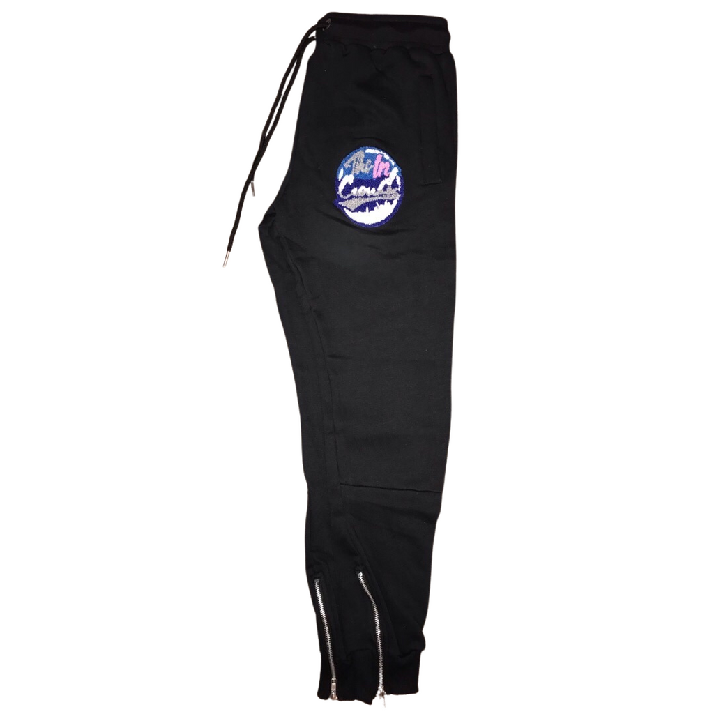 The In Crowd Chenille Patch Black Sweatpants