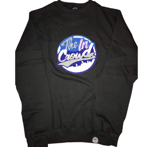 The in Crowd Chenille Logo Black Crew Neck