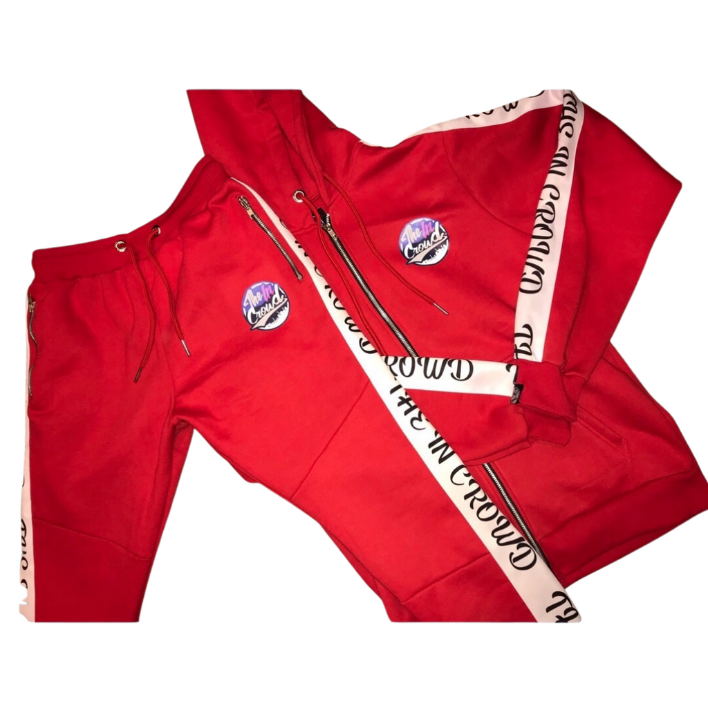 "The in crowd ""swaggy"" full red sweat suit"