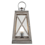 GREY WOOD AND CHROME LANTERN TABLE LAMP