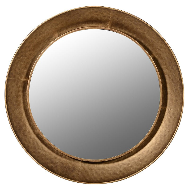 LARGE GOLD HAMMERED RIM ROUND WALL MIRROR