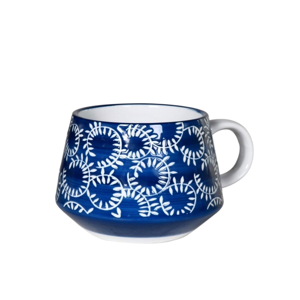 HAND PAINTED BLUE & WHITE MUG