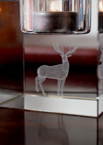 FROSTED DEER CRYSTAL TEALIGHT HOLDER
