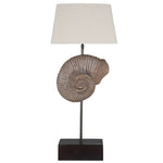HAND CRAFTED WOODEN SHELL TABLE LAMP