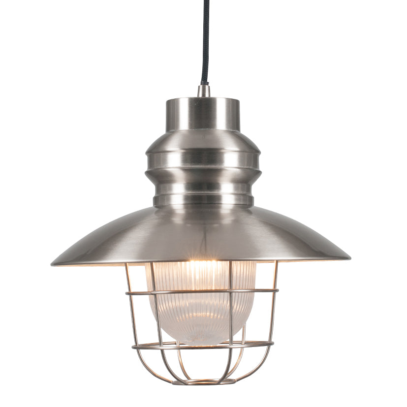 SATIN NICKEL PENDANT WITH CAGE