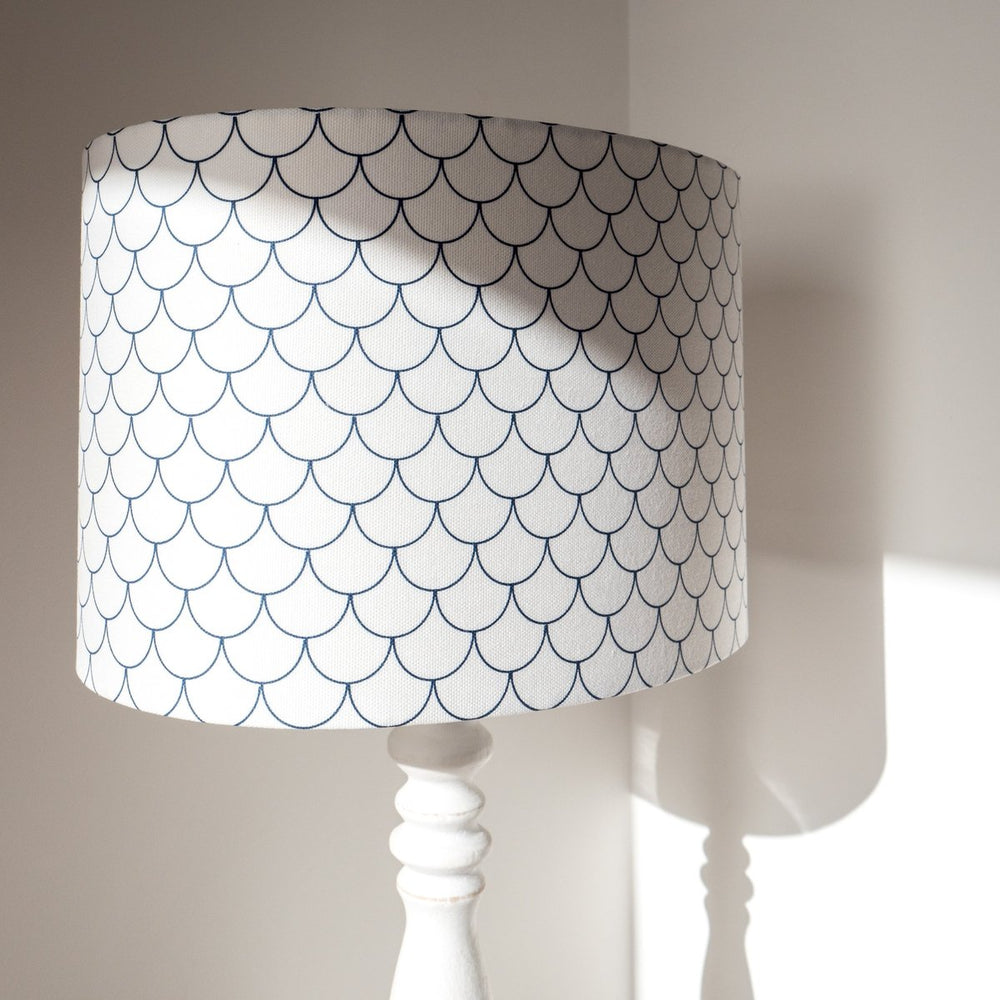 BLUE & WHITE MERMAID SCALES LAMP SHADE